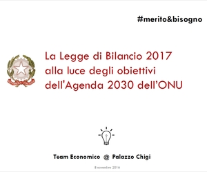La Legge di Bilancio 2017 alla luce degli obiettivi dell'Agenda 2030 dell'ONU