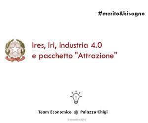 """Ires, Iri Industria 4.0 e pacchetto """"attrazione"""""""