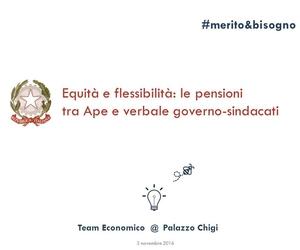 Equità e flessibilità: le pensioni tra Ape e verbale governo-sindacati