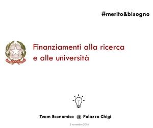 Finanziamenti alla ricerca e alle università