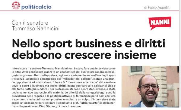 Nello sport business e diritti devono crescere insieme