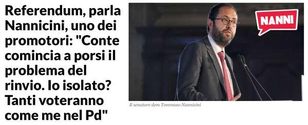"""Referendum, parla Nannicini, uno dei promotori: """"Conte comincia a porsi il problema del rinvio. Io isolato? Tanti voteranno come me nel Pd"""""""