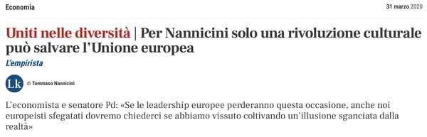 Per Nannicini solo una rivoluzione culturale può salvare l'Unione europea