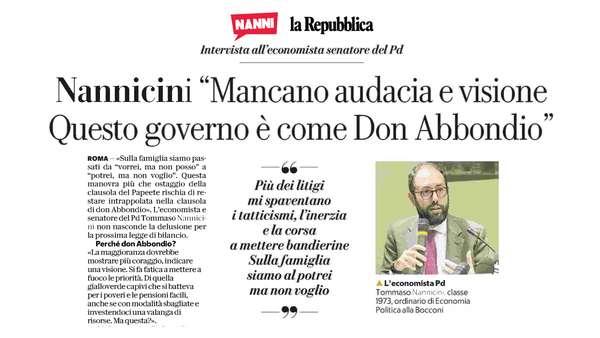 Nannicini: «Mancano audacia e visione. Questo Governo è come Don Abbondio»