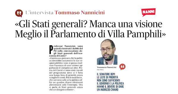 «Gli Stati Generali? Meglio il Parlamento di Villa Pamphili»