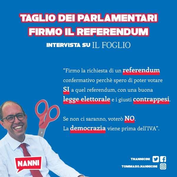 «Nannicini ci dice perché firma il referendum anti taglio dei parlamentari»